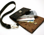 Custom Fit Cell Phone Case with coordinating keychain wristlet and inside pocket - brown/black