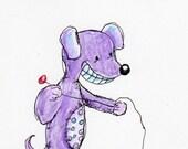 Original Blank Greeting Card illustration drawing Purple Dog and Cat