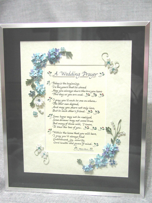 Wedding Prayer Verse Blue Hydrangea Quilled By QuilledKeepsakes