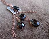 Smoky Quartz and Onyx Pop Tab Pendant Copper Necklace