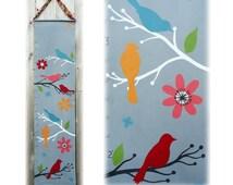 Multi Colored Birds Modern Canvas Growth Chart -  Childrens Art - Height Chart