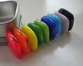 Rainbow Fused Glass Strong Magnets (Set of 9 with tin)