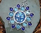 Blue Flower  Moon Face Stained Glass Suncatcher