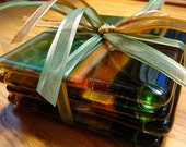 Streaks of Gold and Green  Fused Glass Coasters