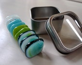 Some Like it Cool  Fused Glass Strong Magnets (Set of 9 with tin)