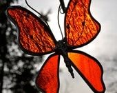 Flame Red Stained Glass Butterfly