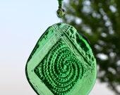 Green Spiral  Fused Glass Suncatcher