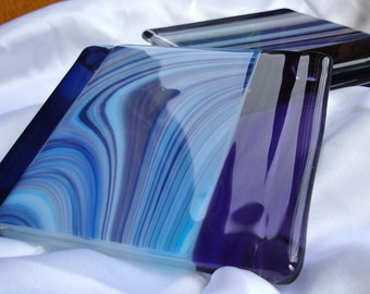 Ocean Wave Fused Glass Coasters