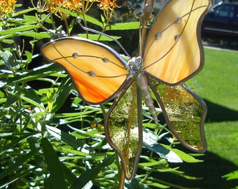 Streaky Orange-Yellow Stained Glass Butterfly