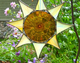 Rondel Sun Shine Stained Glass Suncatcher- (a true SUN-catcher)