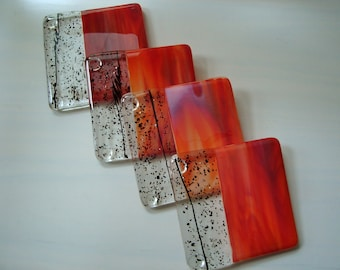 October Nights Fused Glass Coasters