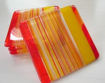 Citrus Punch Fused Glass Coasters