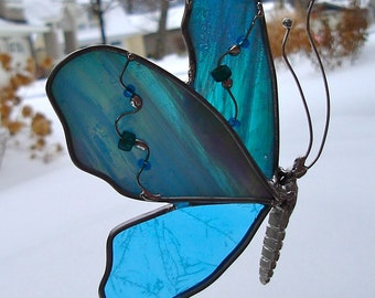 Butterfly in Flight Stained Glass Suncatcher Blue