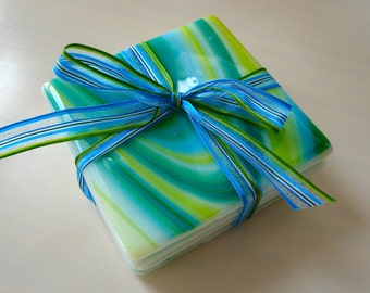 Blue-Green Lagoon Fused Glass Coasters