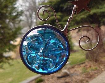 Moon Face and Stars Stained Glass Suncatcher