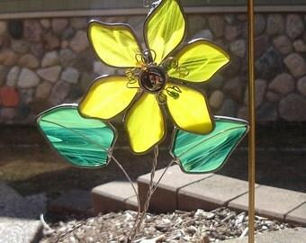 Golden Blossom Stained Glass  Suncatcher