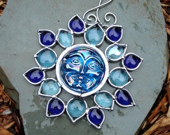 Blue Flower  Moon Face Stained Glass Suncatcher