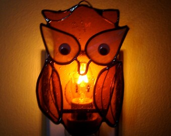 Brian the Wise Old Owl  Stained Glass Nightlight