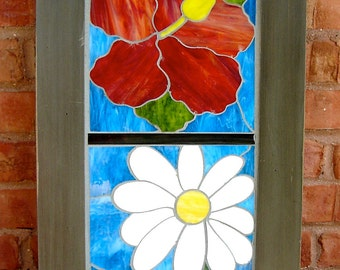 Summer in Bloom Mosaic Wall Art  on Recycled Wood Door