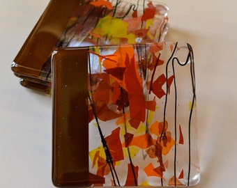 Falling Leaves Fused Glass Coasters
