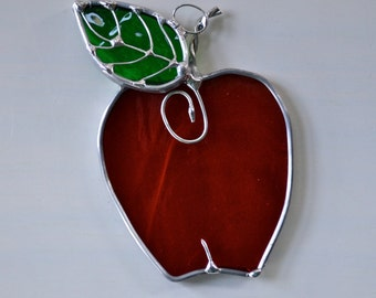 Red Apple Stained Glass Suncatcher