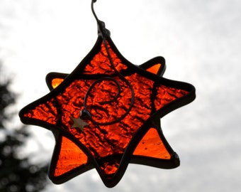 Twinkle Star  in Red Stained Glass Suncatcher
