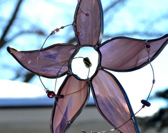 Lilac Star Flower Stained Glass Suncatcher