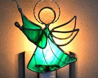 Jade Star Angel Stained Glass Night Light