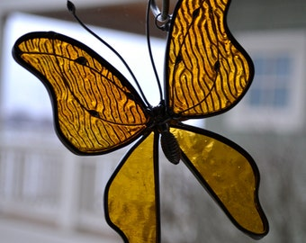Golden Stained Glass Butterfly