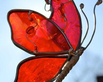 Red Butterfly in Flight Suncatcher
