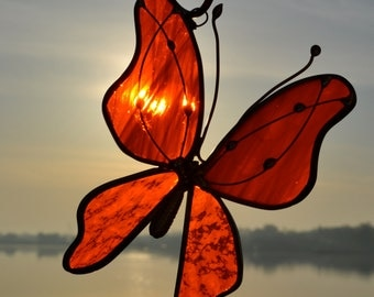 Bright Orange Butterfly Stained Glass Suncatcher