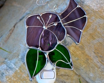 Aunt Eva's Lavender Morning Glory Stained Glass Nightlight