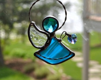 The Little Angel of Love in Stained Glass Deep Aqua