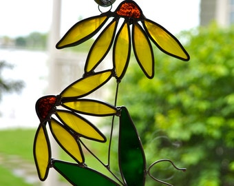 Coneflower Stained Glass  Suncatcher Black-eyed Susan