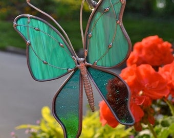 Streaky Jade  Stained Glass Butterfly