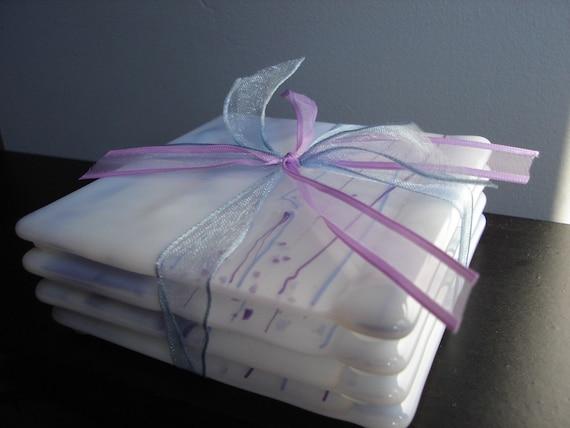 Lilac Fog Fused Glass Coasters