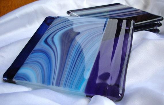 Ocean Wave Fused Glass Coasters