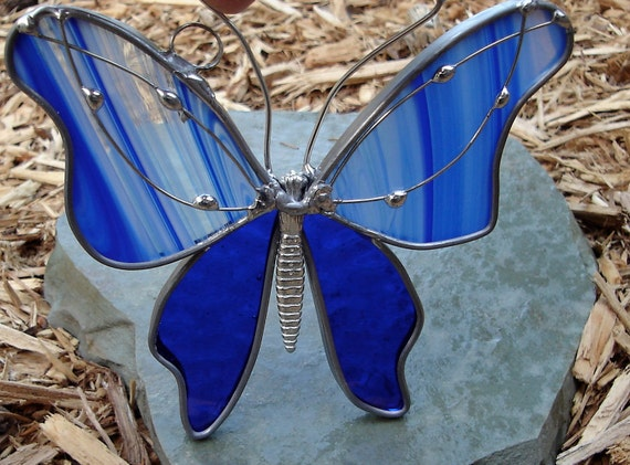 Cobalt Blue Swirls Stained Glass Butterfly