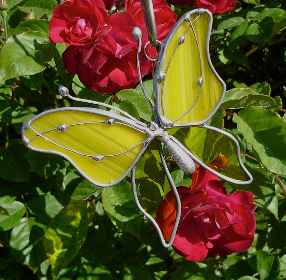 Yellow Sunshine Butterfly Stained Glass Suncatcher