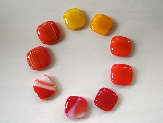Some Like it Hot  Fused Glass Strong Magnets (Set of 9 with tin)