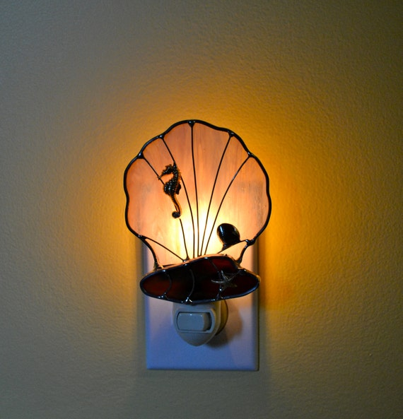Seashore Treasures Stained Glass Night Light