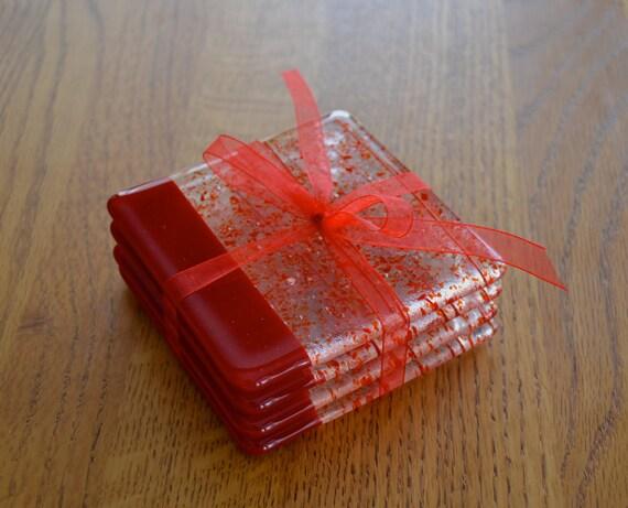 Rich Red Confetti Fused Glass Coasters