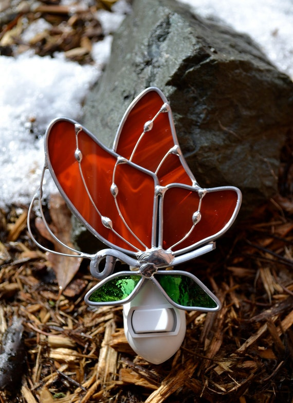 Radiant Red Butterfly  Stained Glass Night Light