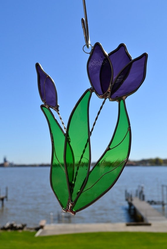Tulip Stained Glass  Suncatcher Choose Color- Purple Red Orange Yellow