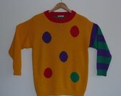 80s esprit striped polkadot sweater