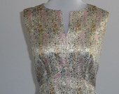 vintage gold floral brocade maxi dress