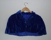 crushed blue velvet mini cape