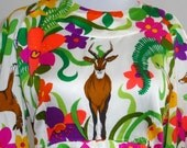 vintage antelope deer and flower power dress