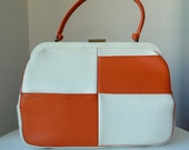1960's mod CHECKERED orange handbag