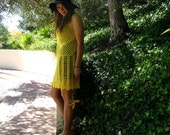 vintage crochet SUNSHINE mini dress
